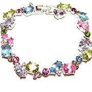 Vintage Napier ~ Pastel Rhinestone Bracelet