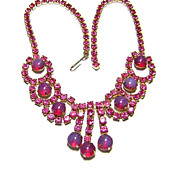 1950s Red Opaline & Pink Rhinestone Necklace
