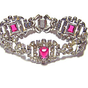 Art Deco Era Pink Glass & Rhinestone Bracelet