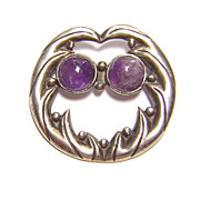 Pre 1940s Mexico ~ Sterling Silver & Amethyst Brooch