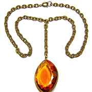 Vintage Topaz Glass Stone Necklace