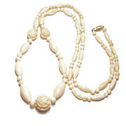 Early 20th Century 34 Inch Ivory Bead Necklace