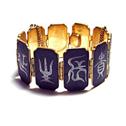 Vintage Caribe ~ Japanese Character Panel Bracelet