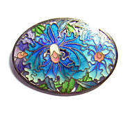 Vintage Amita ~ Japan ~ Enamel Cloisonn�  on Silver Brooch