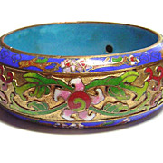 Vintage Chinese Enameled Bangle Bracelet