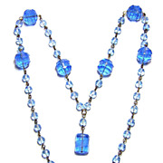 Vintage Czech Blue Molded Glass Bead Necklace