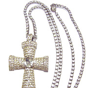 1960s Vogue Jewelry ~ Large Rhinestone Cross w/ Long Rhinestone Chain