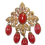 Style Metal Specialty Co ~ Circa1940 Carnelian Glass & Gilt Brass Filigree Brooch