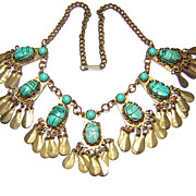 1920s Egyptian Revival Brass & Glass & Faience Scarab Necklace