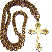 Antique Victorian Yellow & Rose Gold Fill Cross Necklace