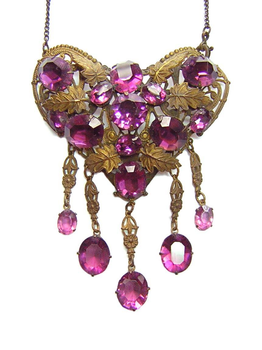 Early 20th Century Purple Rhinestone & Brass Heart Necklace