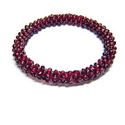 SOLD Woven Bohemian Garnet Bead Bangle Bracelet