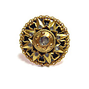 Artisan Crafted Etruscan Style Ring w/ Rock Crystal Stones