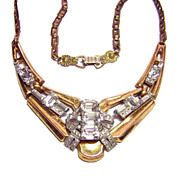 McClelland Barclay ~ Art Deco Architectural Rhinestone Necklace