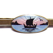 Askel Holmsen for David Andersen Norway ~ Nordic Ship Enameled Tie Clasp