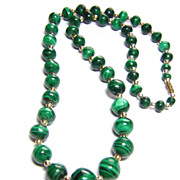 Malachite Bead Necklace  ~ 21 Inches