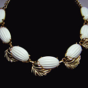 1950s Milk Glass & Leaves Necklace