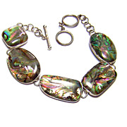 Sterling Silver & Simulated Iridescent Abalone Shell Bracelet
