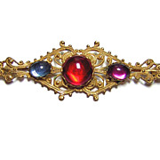Miriam Haskell ~ Colorful Glass Cabochon Filigree Brooch