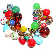 Very Full Charm Bracelet of Vintage Glass Beads