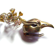 Vintage 1930s Bird Fur Clip w/ Rhinestone Plume