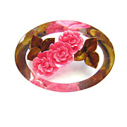 Vintage Lucite Reverse Carved & Painted Roses Brooch