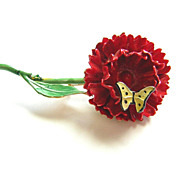 Sandor ~ Red Flower & Butterfly Enameled Brooch