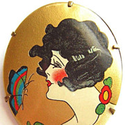 Art Deco Hand Painted Brooch