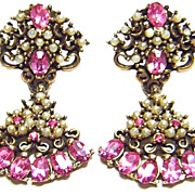 Vintage Pink Rhinestone & Faux Pearl Earrings