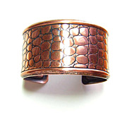 Vintage Napier ~ Copper Cuff Bracelet w/ Alligator Texture