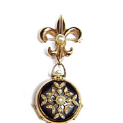 1948 Coro ~ Three Photo Locket Brooch