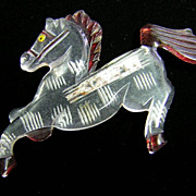 Painted Lucite Horse Brooch