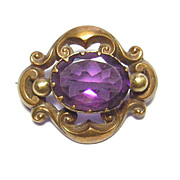 Victorian 10k Gold & Amethyst Glass Brooch
