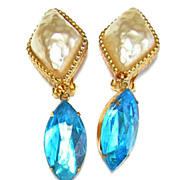 Hattie Carnegie ~ Faux Baroque Pearl & Aqua Glass Earrings