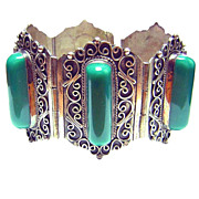 Pre 1940s Mexico ~ Signed Patino ~ Sterling Silver & Chalcedony Bracelet