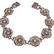 Vintage Sterling Sunflowers Link Bracelet