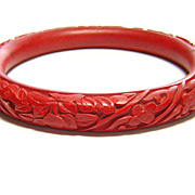 Vintage Carved Cinnabar Bangle Bracelet