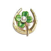 Krementz Lucky Horseshoe & Four Leaf Clover Pin