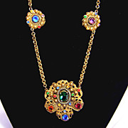 1930s Colored Rhinestone Necklace