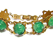 Vintage Green Molded Glass Bracelet