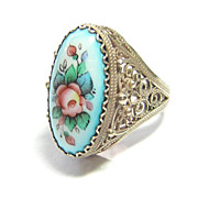 High Profile Hand Painted Enamel Ring