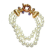 Two Row Simulated Pearl Bracelet w/ Decorative Toggle Clasp