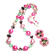 Vintage Tara ~ Pink Pearl & Glass Bead Necklace & Earrings Set