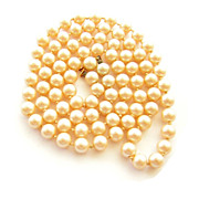 32 Inch Strand Hand Knotted Vintage Simulated Pearl Necklace
