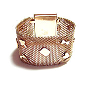 Wide Golden Metal Mesh Vintage Bracelet