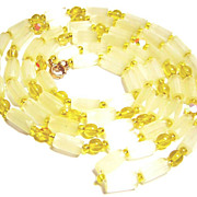 SOLD Vintage Pale Yellow Satin Glass Bead Necklace