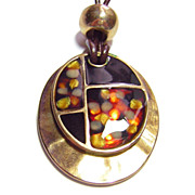 Vintage Signed KC ~ Two Piece Enameled Pendant Necklace