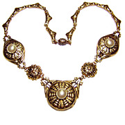 Signed Czechoslovakia ~ Antiqued Golden Necklace w/ Simulated Pearls