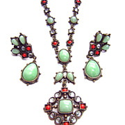 Vintage Renaissance Revival Faux Gemstone Necklace & Earrings Set