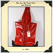 SALE ca. 1960s Red Patent Vinyl Lace Up Purse with Umbrella